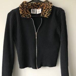 VINTAGE Ribbed Cheetah Fur Long Sleeve Crop Top